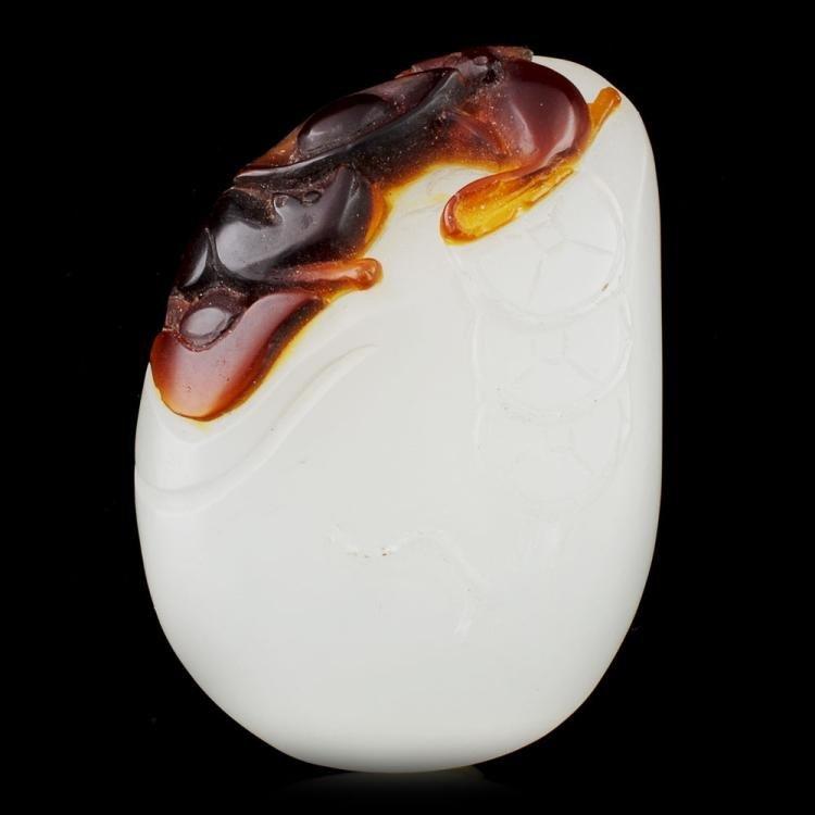 Chinese Peking Glass Carved Rats Sending Money Boulder