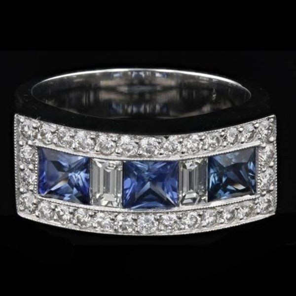 18k White Gold Diamond Ring .97 CTW Diamonds Sapphires