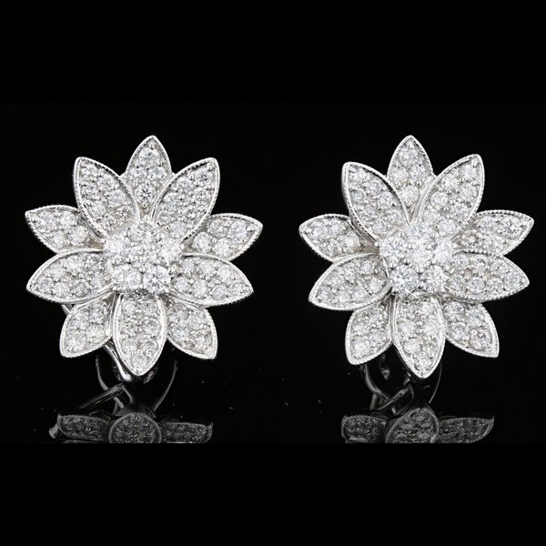 Pair 18k White Gold 2.62CTW Diamond Flower Earrings