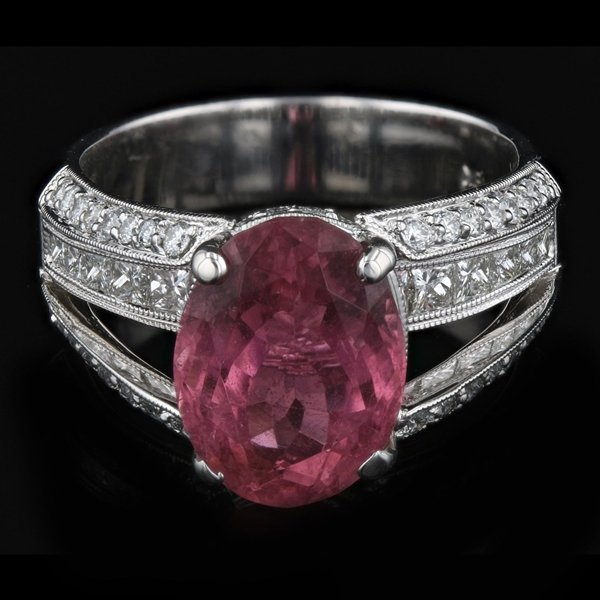 18k W Gold 4.60CTW Tourmaline 1.41CTW Diamond Ring