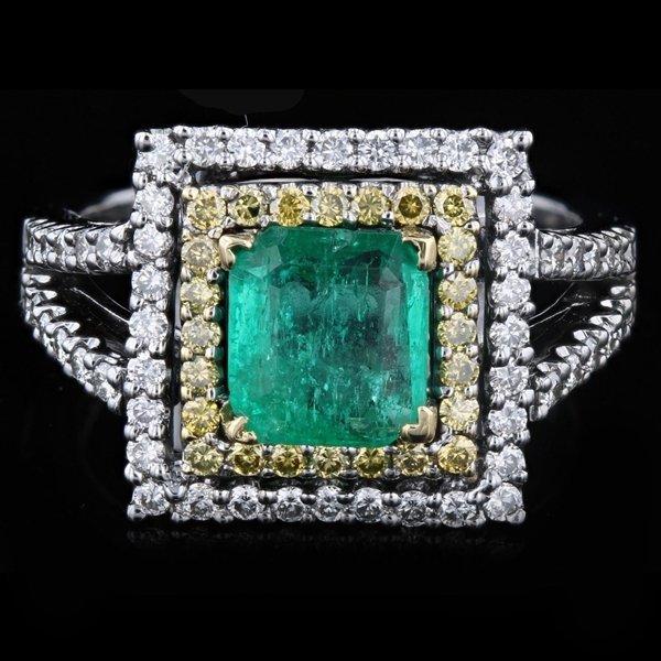 18k W Gold 1.15CT Emerald 0.86CT Ladies Diamond Ring