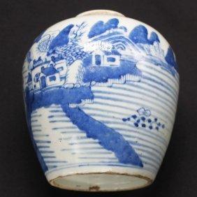 "Chinese Vase Chin Dynasty Blue Grey 6""H"