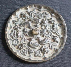 Antique Chinese Bronze Mirror Engraved w Birds