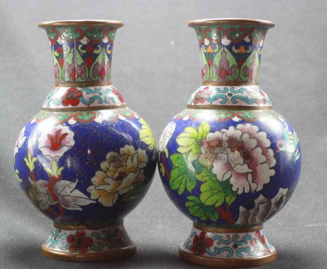 """Antique Cloissone Flower Vases 7"""" tall - Pair"""
