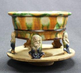 Antique Porcelain Censer w Five Figure Legs