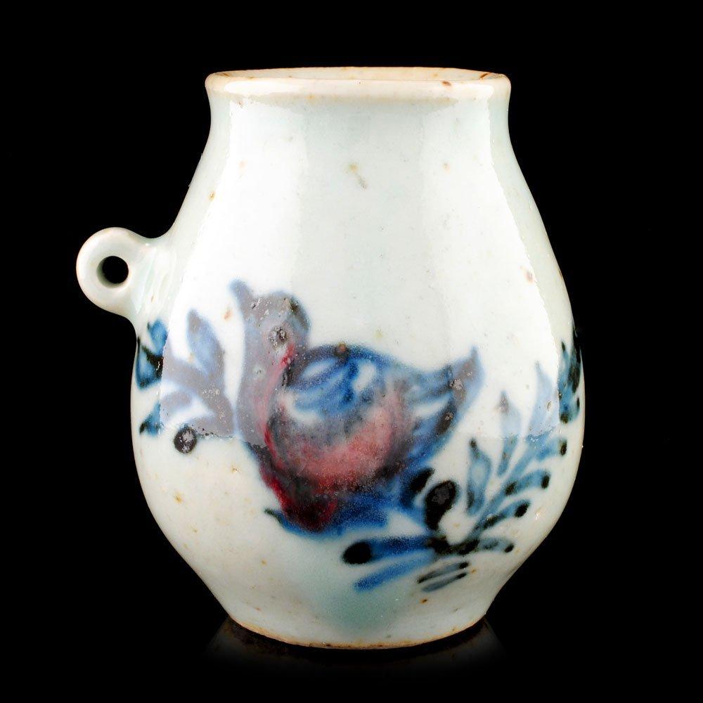 Ming Dynasty Blue/White w Red, Underglaze Bird - 2
