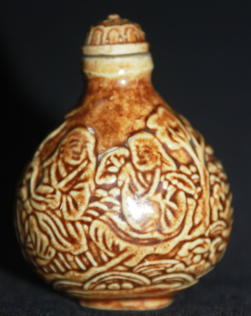 19th Century Porcelain He He Gods Snuff Bottle - 2