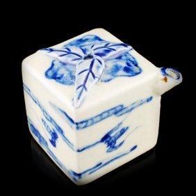 Chinese Antique White/Blue Desk Ink Pot