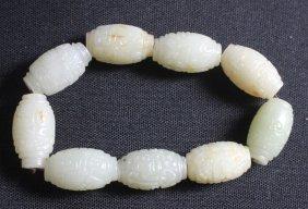 Old Chinese Carved White Jade Bead Bracelet