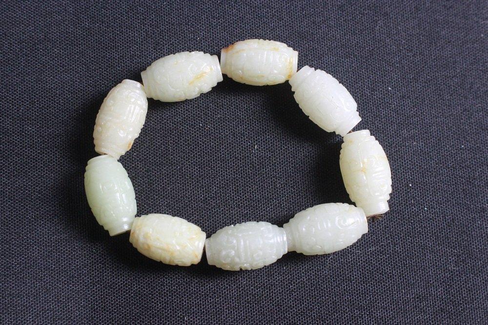 Old Chinese Carved White Jade Bead Bracelet - 2