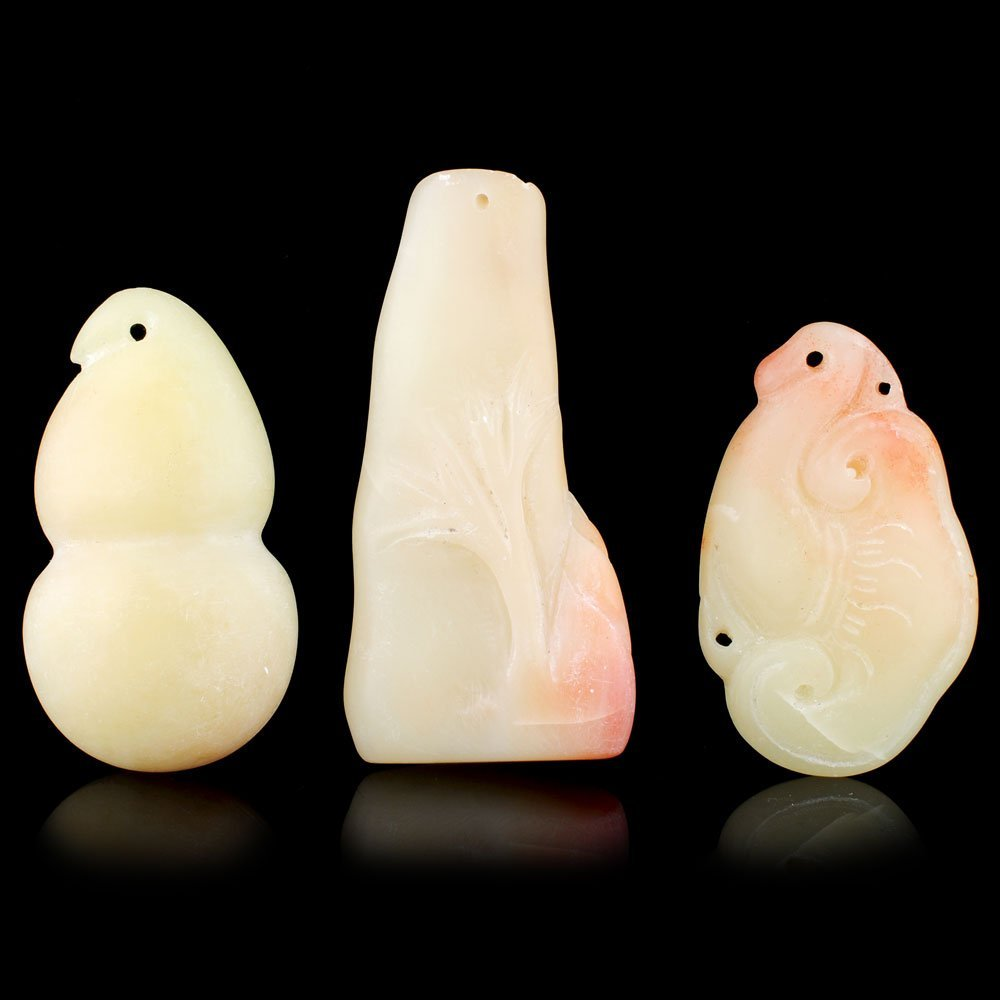 Set of 3 Chinese Carved Soapstone Old Pendants