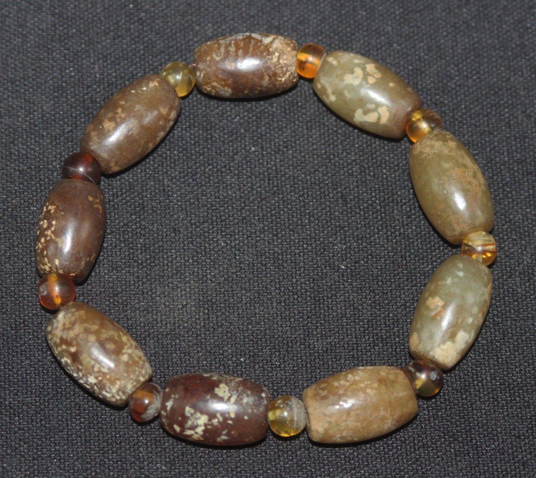 Han Dynasty Bracelet w Dark Green Beads