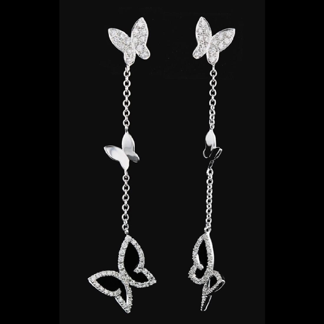 18k W Gold 0.77CTW Butterfly Drop Diamond Earrings