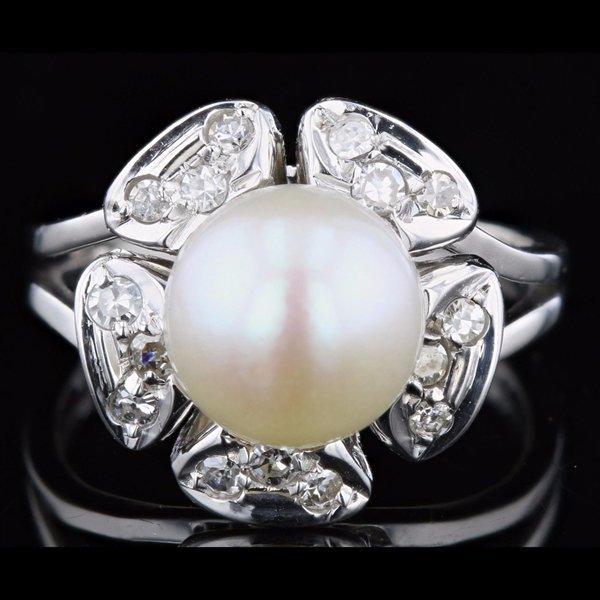 14k W Gold 0.12CTW Diamond Ring 9.0mm Freshwater Pearl