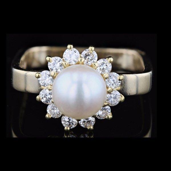 14k Yellow Gold Pearl 0.42CTW G Diamond Ring