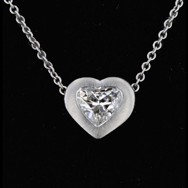 Platinum 0.50CT H Diamond Heart Shape Pendant
