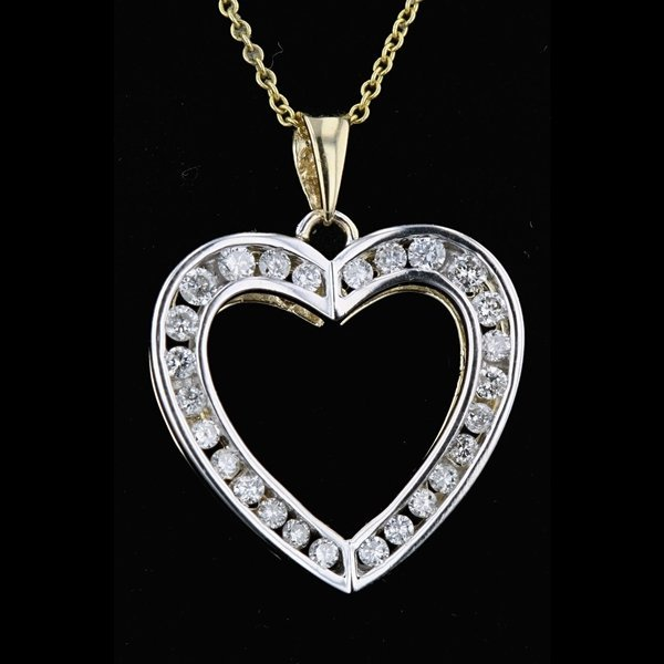 14k Two Tone Gold 0.58CTW Diamond Heart Pendant