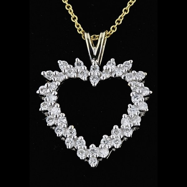 14k Yellow Gold 0.53CTW Heart Shape Diamond Pendant