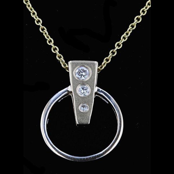 14k Yellow Gold Necklace 0.10CTW Diamond Pendant