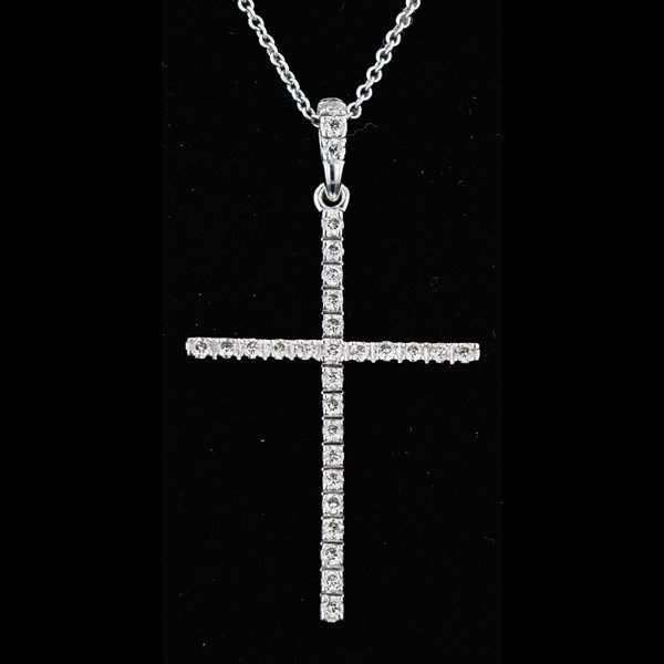 14k White Gold Necklace 0.29CTW Cross Diamond Pendant