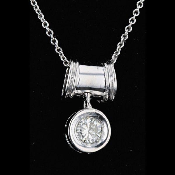 14k White Gold Necklace 0.33CTW Diamond Pendant