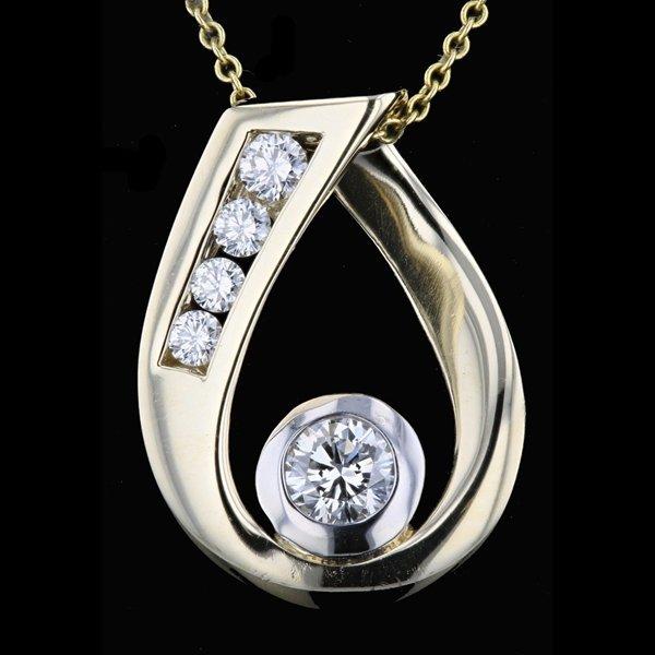 14k Two Tone Gold Necklace 0.45CTW Diamond Pendant