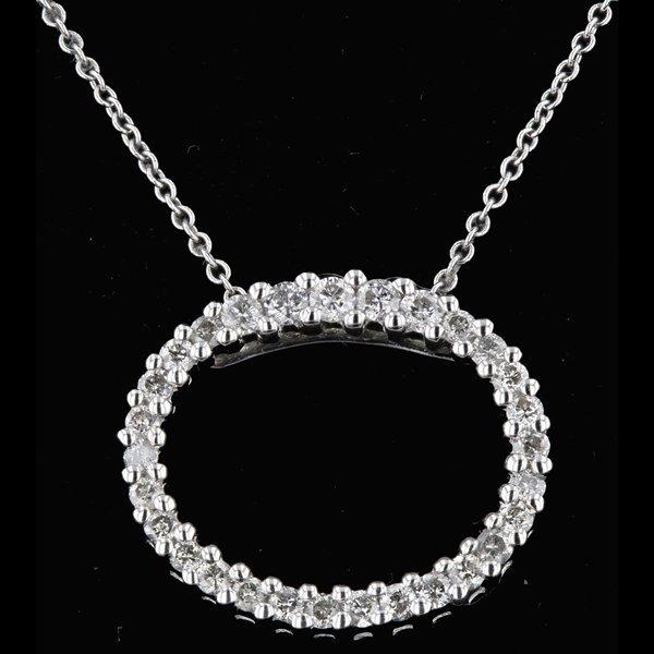 14k White Gold Necklace 0.43CTW Diamond Pendant