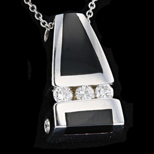 14k White Gold 0.36CT Black Onyx Diamond Pendant