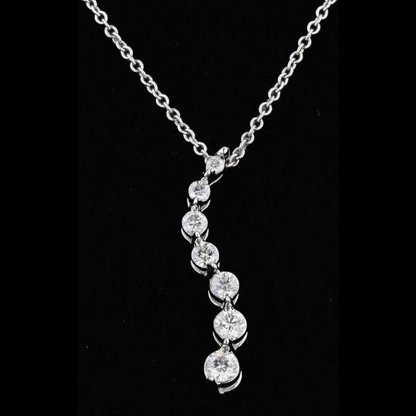 14k White Gold Necklace 0.16CTW Diamond Pendant