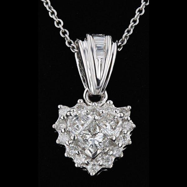 14k White Gold 0.46CTW Heart Shape VS2 Diamond Pendant