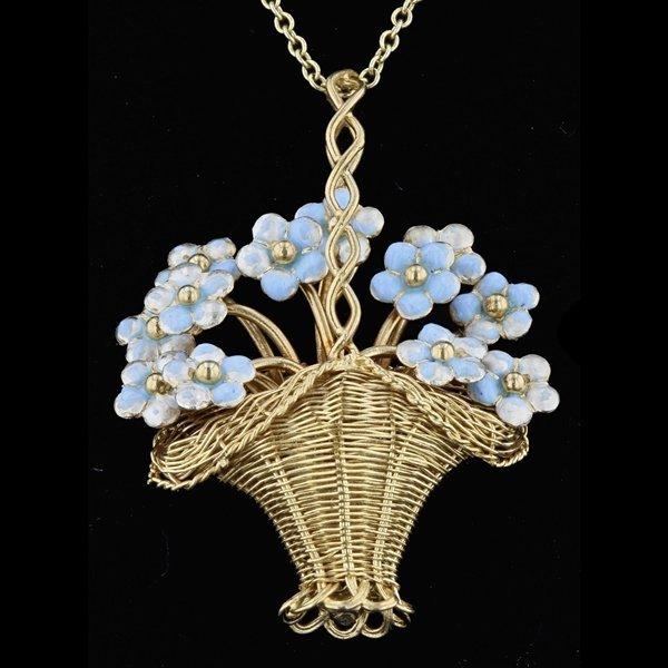 18k Yellow Gold & Enamel Flower Basket Pendant