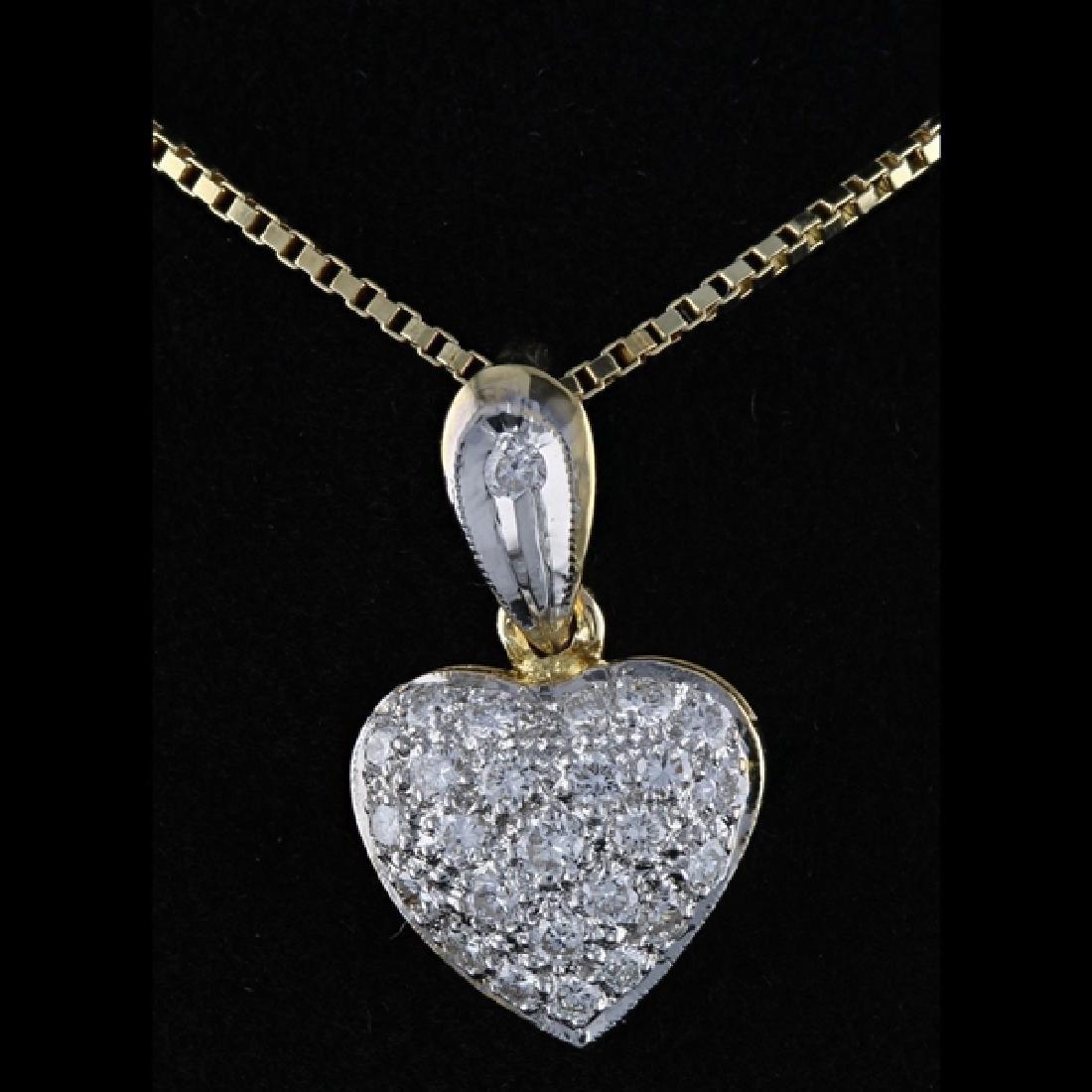14k Y Gold 0.51CTW Diamond Heart Pendant Necklace