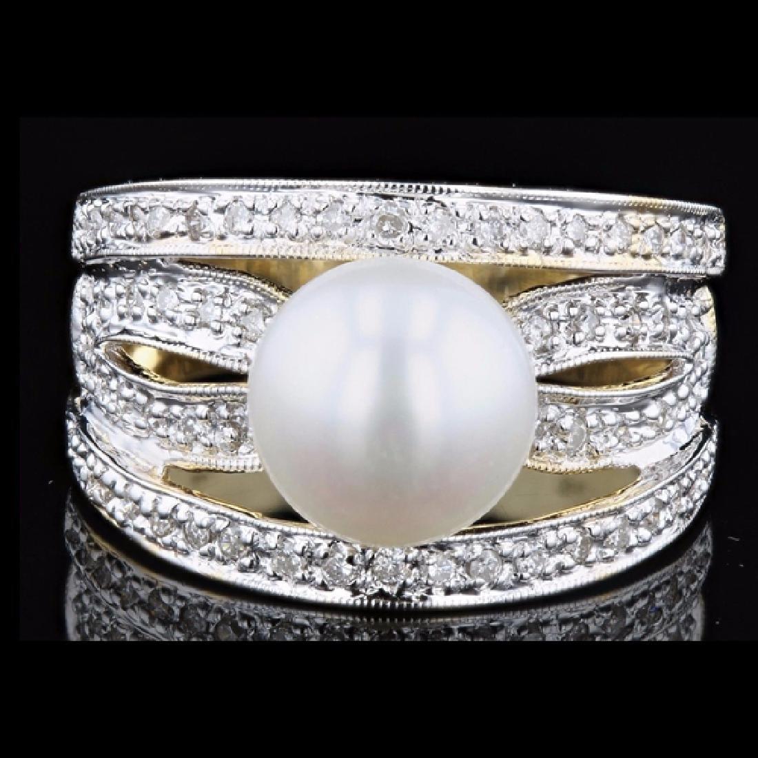 18k Yellow Gold 0.26CTW Diamond Ring 9mm FW Pearl