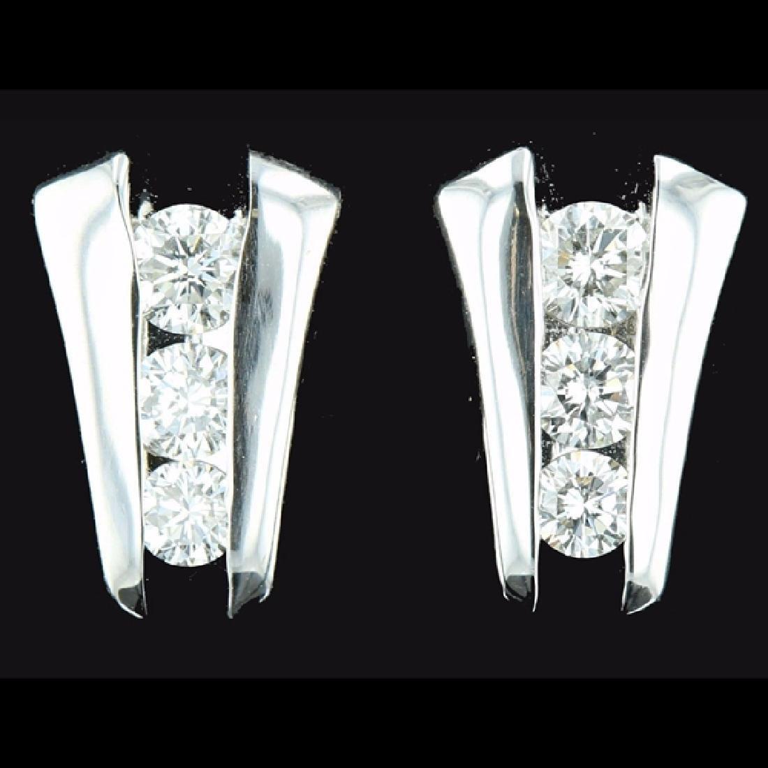 14k WGold 1.48CTW Color G Channel Set Diamond Earrings