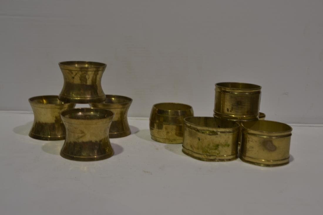 Assorted Brass Napkin Rings - Set of 9
