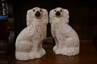 10: Pair Antique Staffordshire Dogs with Glass Eyes Siz