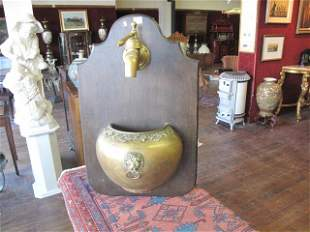 WOOD AND BRASS WATER DISPENSER