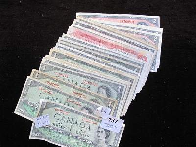 137: LOT OF CANADIAN BANK NOTES