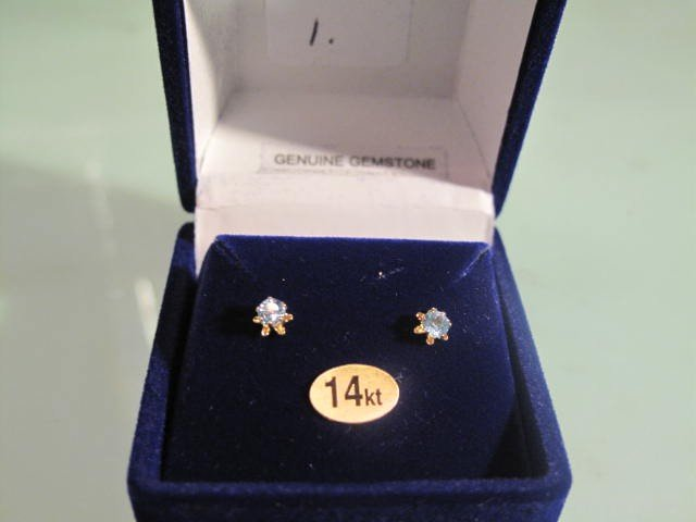 1: 14 kt. Gold Genuine Blue Topaz Earrings