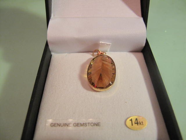 6: 14kt. Gold 15cts genuine Citrine Pendant,retail $700