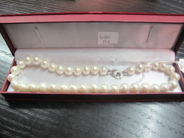 4B: Original White Pearl Necklace 11-13mm, 16 inches