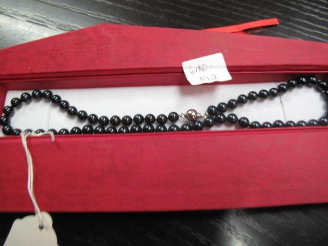 5B: Original Blue Black Pearl Necklace 6-7mm, 16 inches