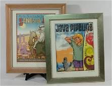 Gary Trudeau, Pair, Framed Coffee L.E. Lithographs
