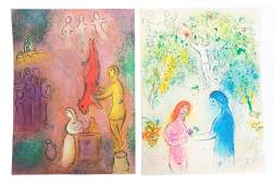 Marc Chagall Two Color Lithographs Signed