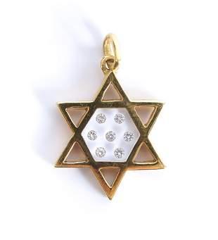 18K Yellow Gold Star of David w/Diamonds