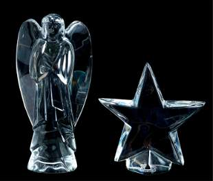 Baccarat Crystal Star Paperweight & Nativity Angel