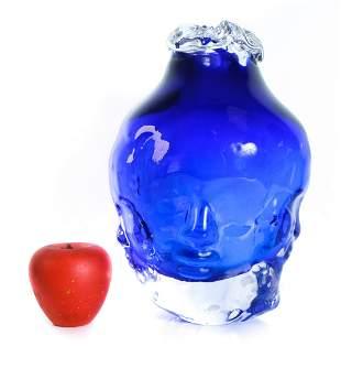 Vintage Allen Bush Art Glass Face Vase, '95