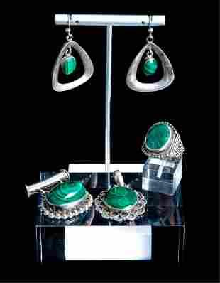 Group, 5 Pcs Sterling & Silver & Malachite Jewelry