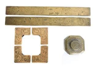 Tiffany Studios NY Gilt Bronze Zodiac Desk Set