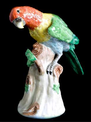 Late 19th C Dresden Porcelain Macaw Parrot